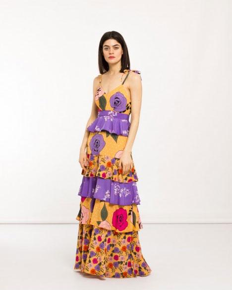 Long floral dress Silvian Heach.
