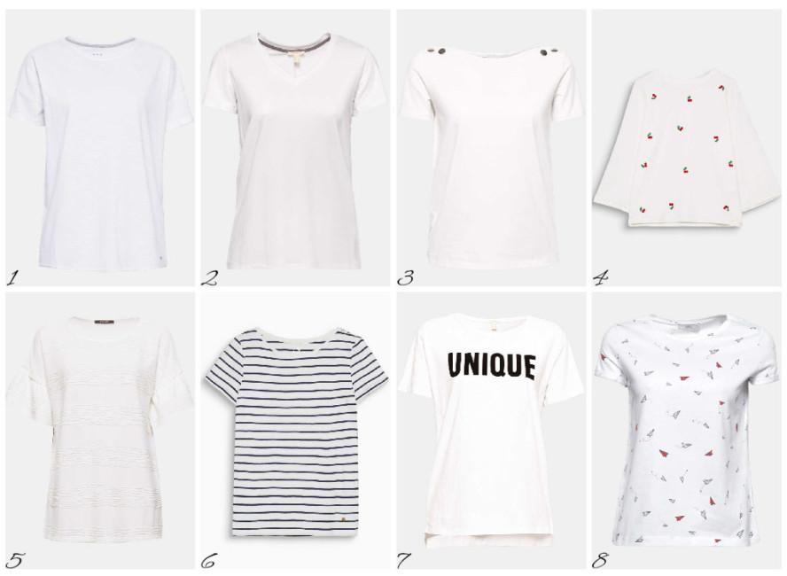 8 modelli indispensabili di t-shirt bianca - 8 essential models of white t-shirt.