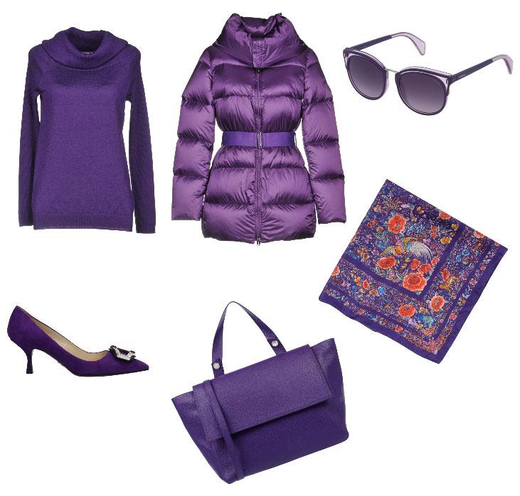 Idea outfit viola colore di tendenza autunno inverno 2018.