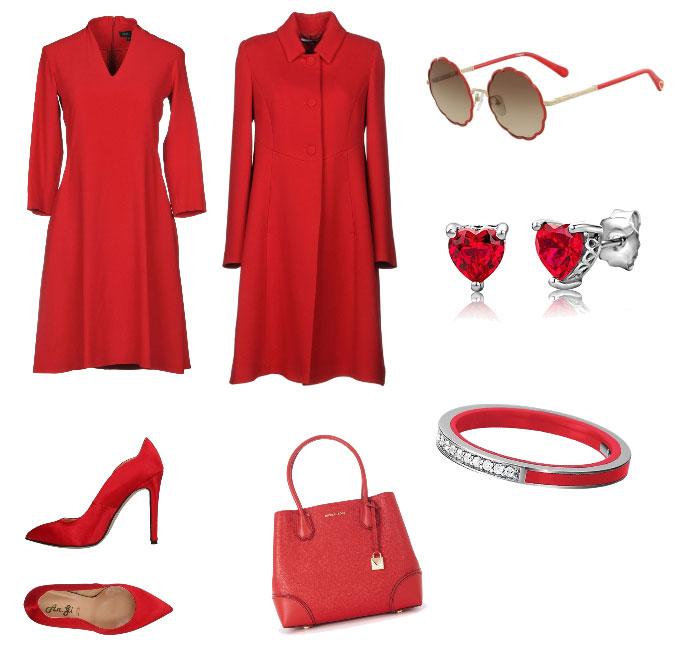 Ispirazione outfit rosso colore di tendenza autunno inverno 2018.