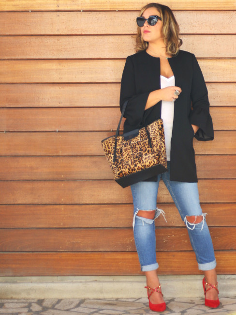 Look idea animalier bag.