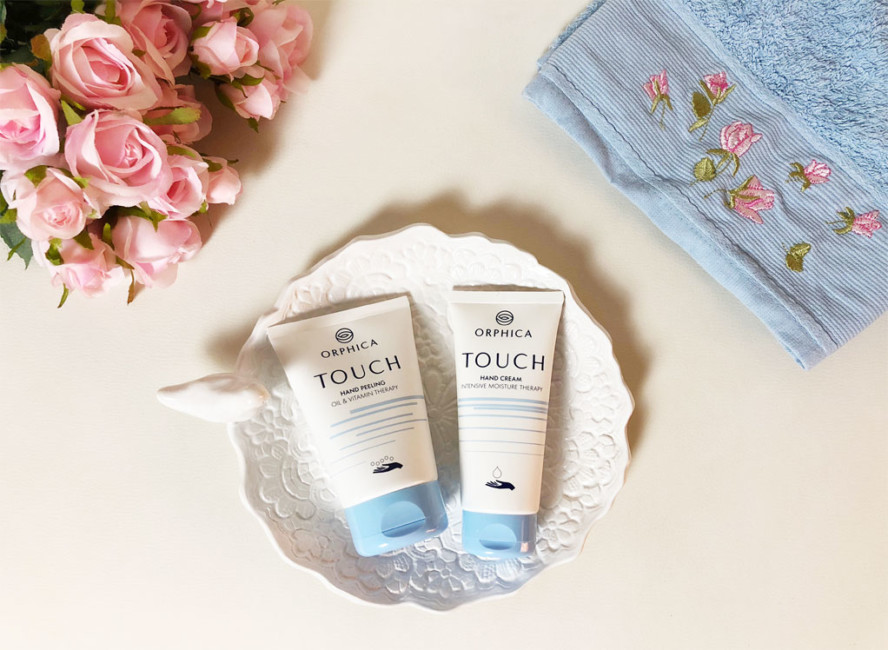 ORPHICA Touch peeling and hand cream.