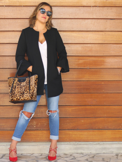 Outfit casual tote bag animalier.