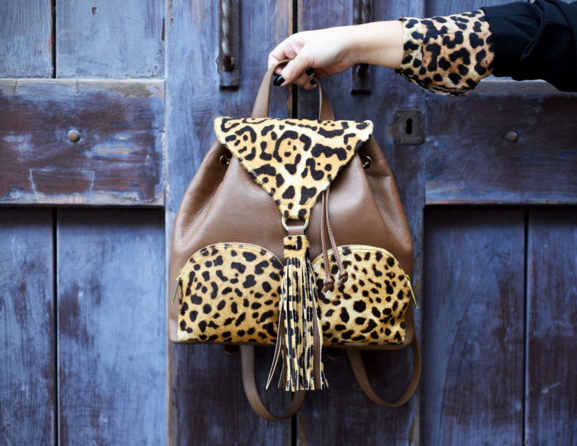 Leopard print animal backpack by Sapaf Atelier.