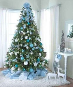 Blue and silver Christmas tree.