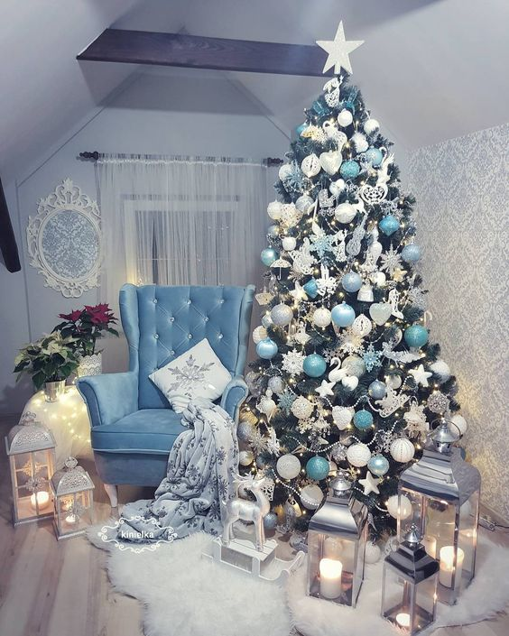 Blue and white Christmas tree.