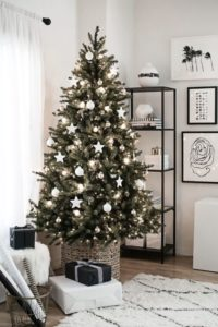 Minimal white Christmas tree.