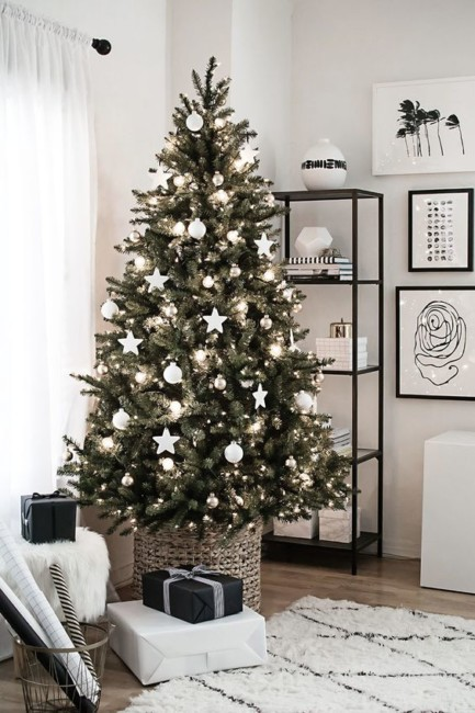 Minimal white Christmas tree.