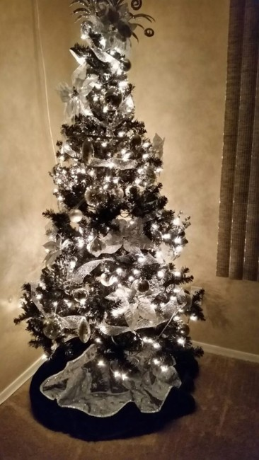 Black Christmas tree.
