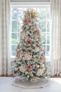Pink and silver Christmas tree.