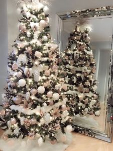 Pink and white Christmas tree.