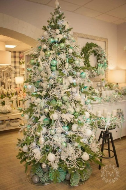 Green and white Christmas tree.