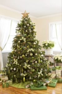 Green and gold Christmas tree.