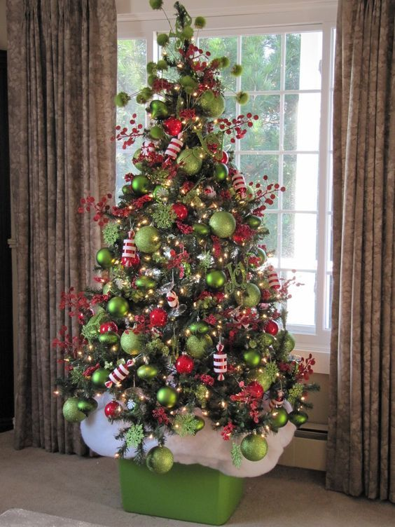 Green and red Christmas tree.