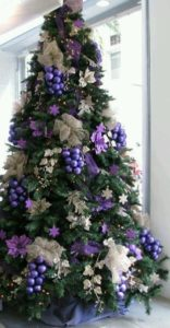 Purple and silver Christmas tree.