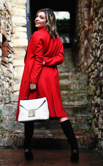 Red coat Christmas outfit.