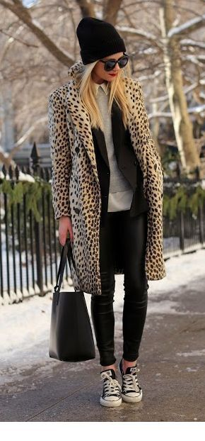Animalier coat outfit.