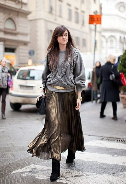 Ankle boots long skirt outfit.