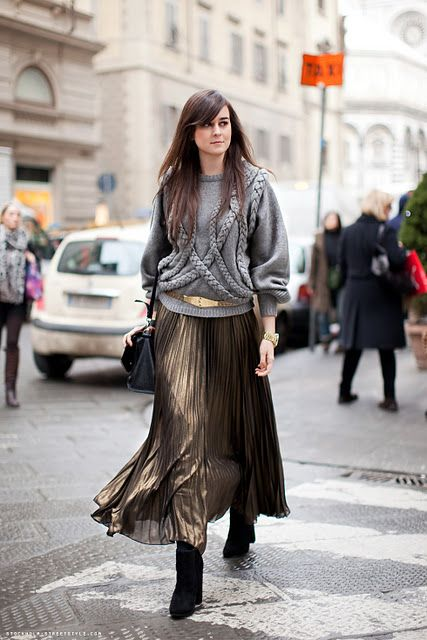 Come indossare i tronchetti con gonna lunga - Ankle boots long skirt outfit.