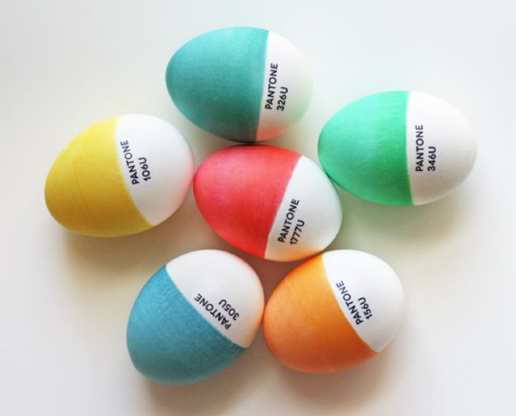 Pantone colors Easter eggs.