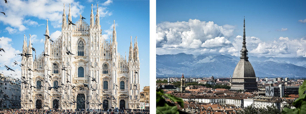 Milano e Torino a confronto - Milan and Turin compared.