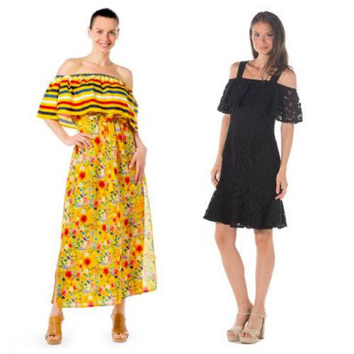 Summer off the shoulder dresses.