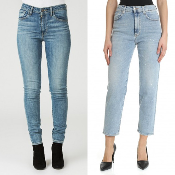 Denim high-waist trousers.