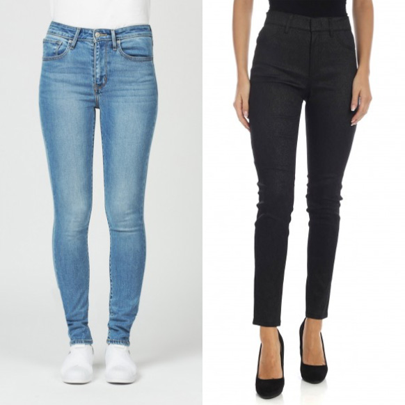 Skinny high waist trousers.
