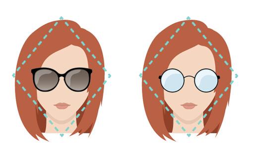 Modelli di occhiali per viso forma a diamante.