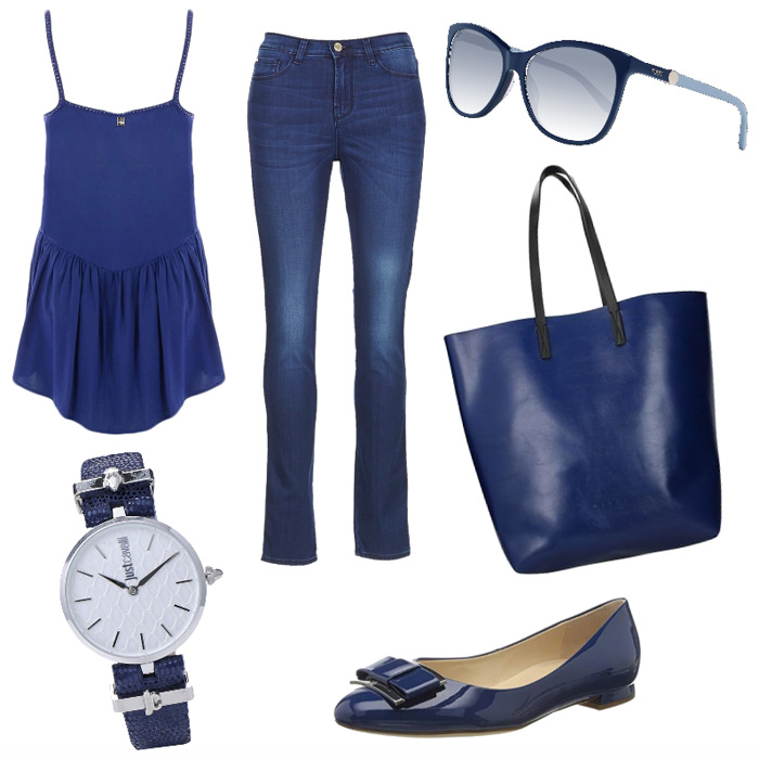 Outfit casual chic blu.