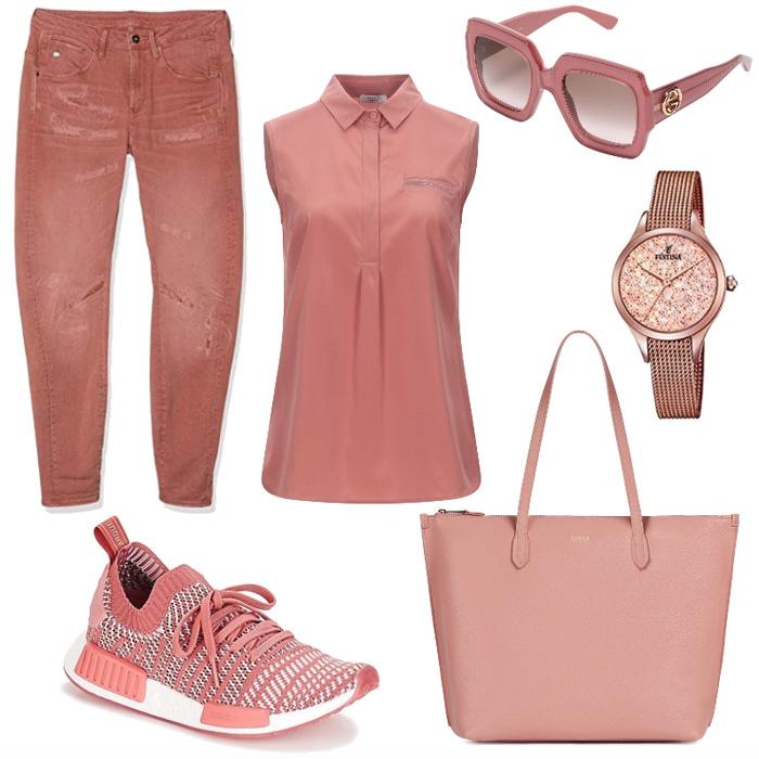 Casual outfit rosa corallo colore di stagione primavera estate 2020.