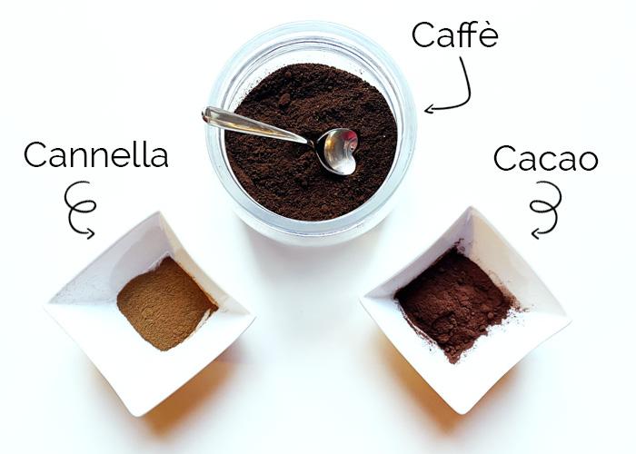 Ingredienti ricetta caffè cacao e cannella.
