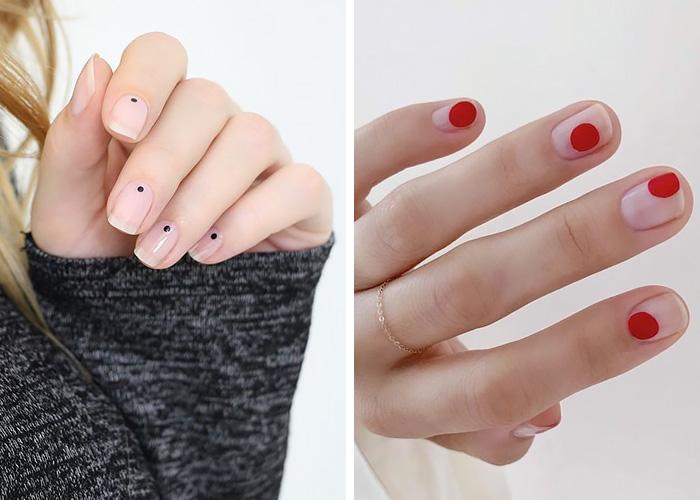 Nail art semplici: dots manicure.