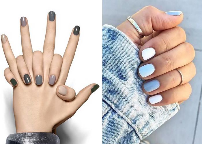 Manicure con smalto in gradazione colore.