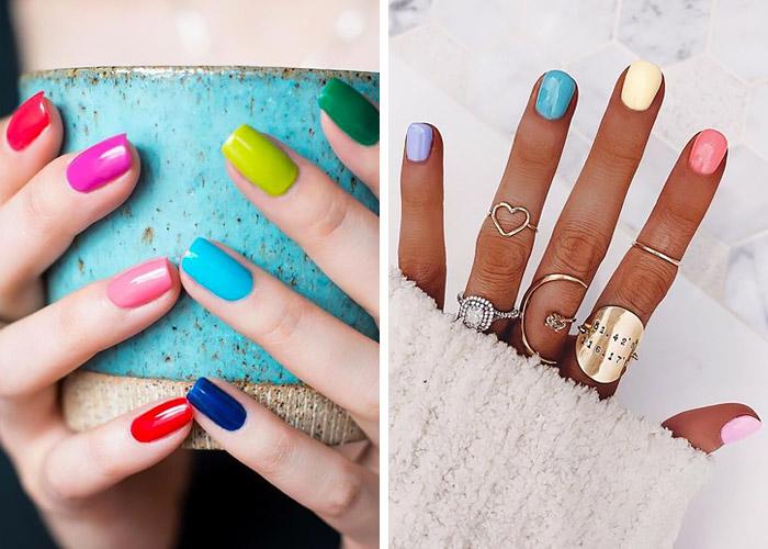 Multicolor manicure.