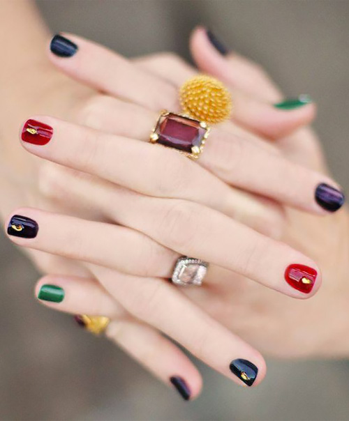 Multicolor simple nail art.