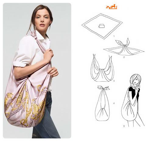 Come realizzare una maxi bag con un foulard grande.