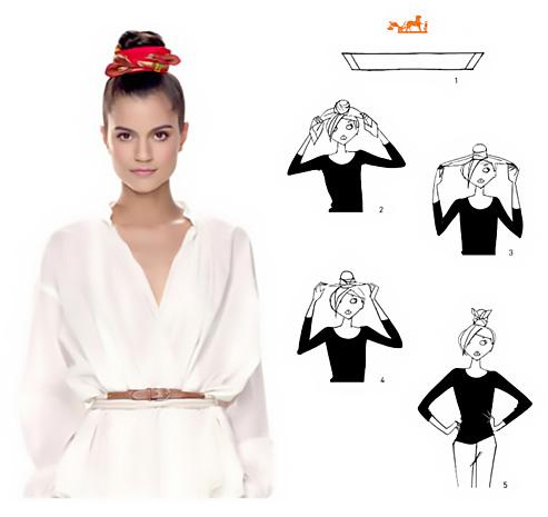 Come annodare un foulard intorno a uno chignon.