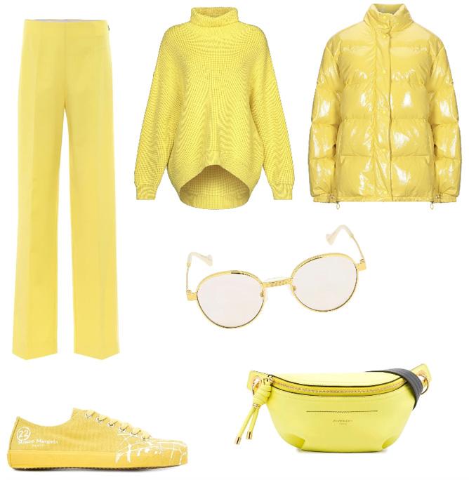 Idea outfit invernale giallo-verde acido.