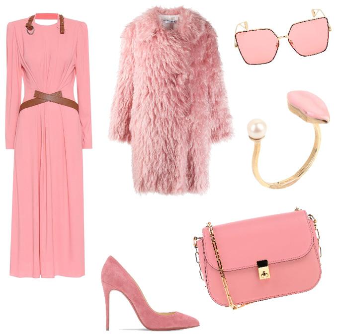 Idea outfit invernale rosa.