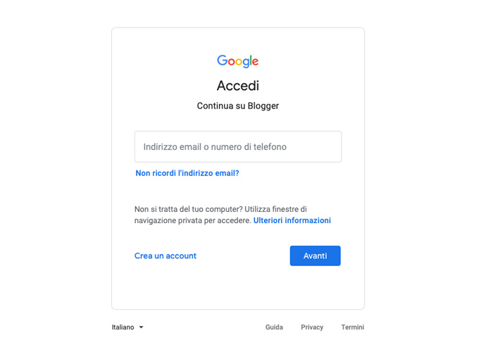 Come creare un blog su Blogger con un account Google.