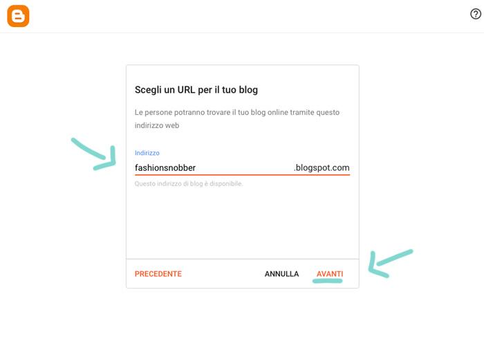 Scegliere URL blog gratuito su Blogger.
