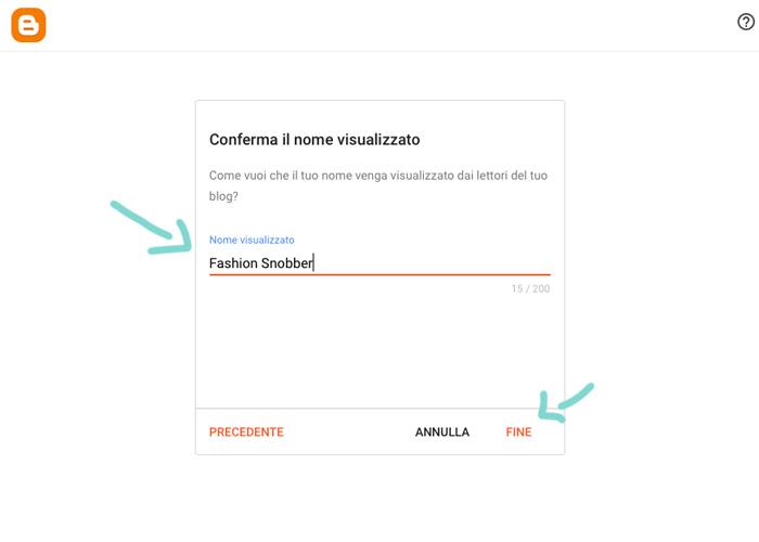 Conferma del nome visualizzato su blogger.