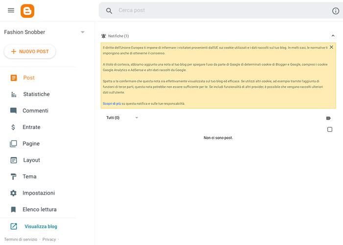Prima schermata di un blog appena creato su Blogger.