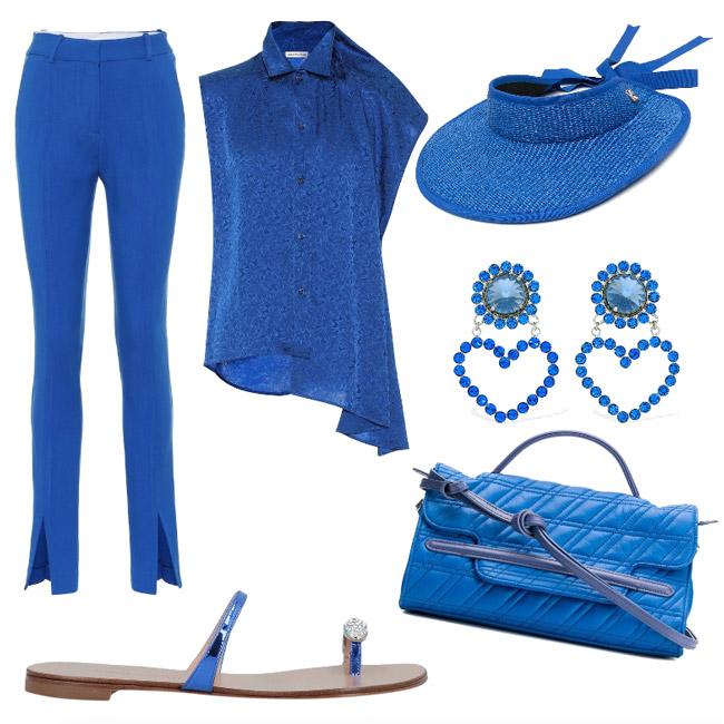 Ispirazione outfit blu francese, colore di stagione primavera estate 2021.