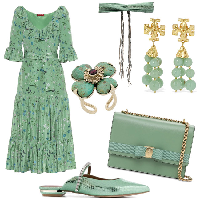 Green ash outfit idea, color spring summer 2021.