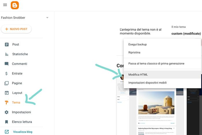 Come modificare il codice HTML di un blog su Blogger.
