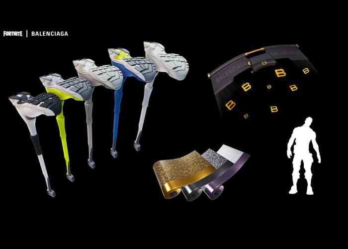 Oggetti del set Balenciaga Fit disponibili su Fortnite.