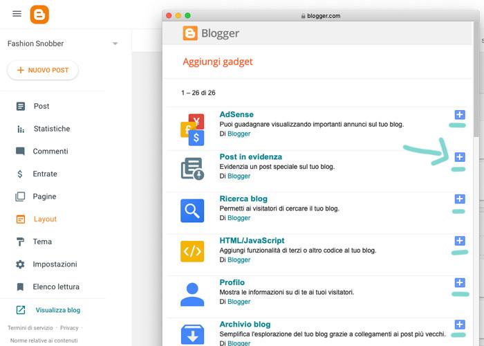 Come aggiungere un gadget in un blog su Blogger.