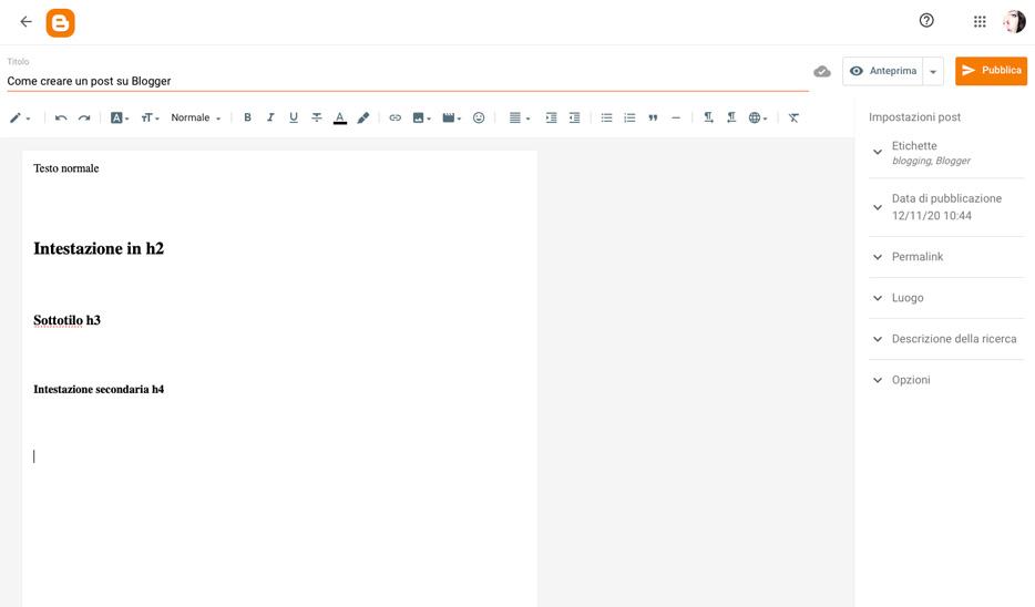Come creare e scrivere un post.